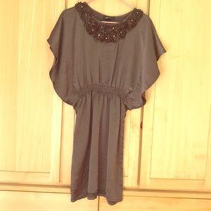 Bronze dress with floral/studs neckline, size 4